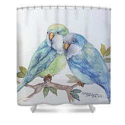 Pete And Repete Shower Curtain by Marcia Baldwin