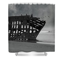 Peter Iredale Shipwreck At Oregon Coast Shower Curtain