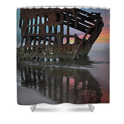 Peter Iredale Shipwreck At Sunrise Shower Curtain