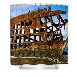 Peter Iredale Shipwreck - Oregon Coast Shower Curtain by Gary Whitton