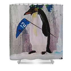 Peter Penquin At The Game Shower Curtain