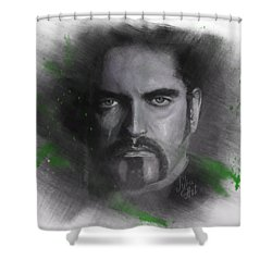 Shower Curtain featuring the drawing Peter Steele, Type O Negative by Julia Art