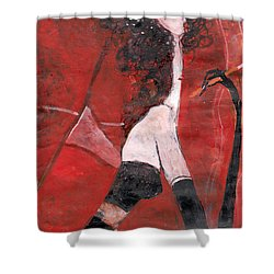 Shower Curtain featuring the painting Petit Cafe Parisien by Maya Manolova
