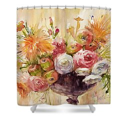 Petite Apples In Floral Shower Curtain by Judith Levins