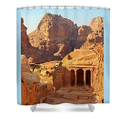 Petra Buildings, Pond And Gardens Complex Shower Curtain by Nicola Nobile
