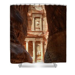 Petra Treasury Revealed Shower Curtain by Nigel Fletcher-Jones