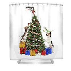 Pets Decorating Christmas Tree Shower Curtain