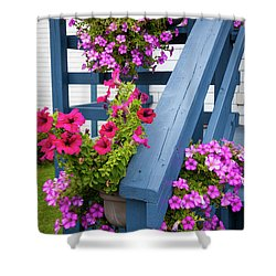 Shower Curtain featuring the photograph Petunias On Blue Porch by Elena Elisseeva