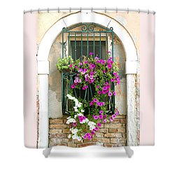 Shower Curtain featuring the photograph Petunias Through Wrought Iron by Donna Corless