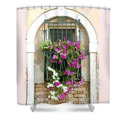 Petunias Through Wrought Iron Shower Curtain