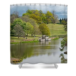 Petworth Lake In April Shower Curtain by Michael Hope