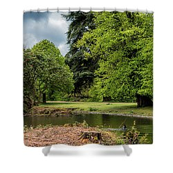 Petworth Lake With Dog Shower Curtain by Michael Hope
