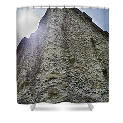 Shower Curtain featuring the photograph Peveril Castle Looking Up by Scott Lyons