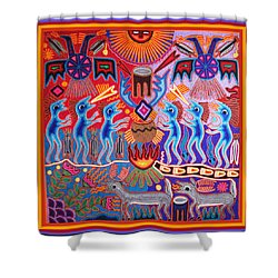 Peyote Shaman Hunting Ritual Shower Curtain by Vagabond Folk Art - Virginia Vivier