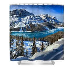 Peyto Lake Winter Panorama Shower Curtain