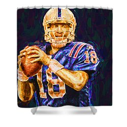 Peyton Manning Indianapolis Colts Nfl Football Painting Digital Shower Curtain by David Haskett