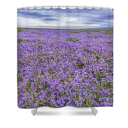 Shower Curtain featuring the photograph Phacelia Field And Clouds by Marc Crumpler