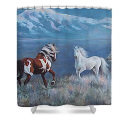 Phantom Of The Mountains Shower Curtain by Karen Chatham