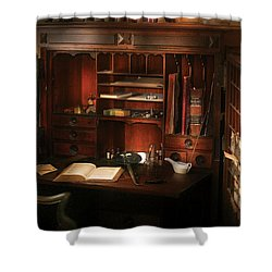 Pharmacist - The Pharmacists Desk Shower Curtain by Mike Savad