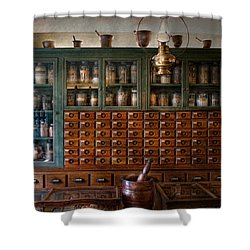 Pharmacy - Right Behind The Counter Shower Curtain by Mike Savad