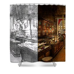 Shower Curtain featuring the photograph Pharmacy - Congdon's Pharmacy 1910 - Side By Side by Mike Savad
