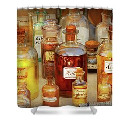 Shower Curtain featuring the photograph Pharmacy - Serums And Elixirs by Mike Savad