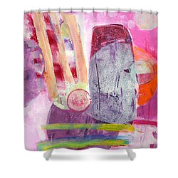 Shower Curtain featuring the painting Phases by Mary Schiros