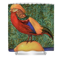Pheasant On A Lemon Shower Curtain by Leah Saulnier The Painting Maniac