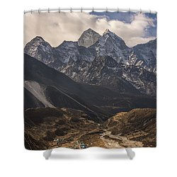 Shower Curtain featuring the photograph Pheriche In The Valley by Mike Reid