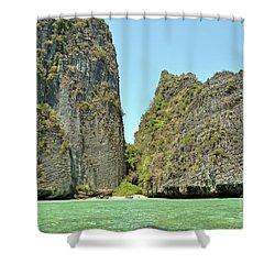 Shower Curtain featuring the digital art Phi Phi Islands 2 by Eva Kaufman