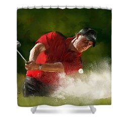 Phil Mickelson - Lefty In Action Shower Curtain