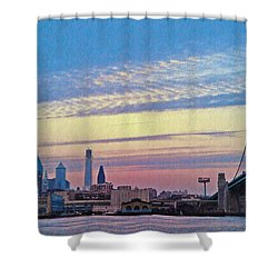 Philadelphia At Dawn Shower Curtain by Bill Cannon