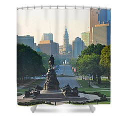 Philadelphia Benjamin Franklin Parkway Shower Curtain by Bill Cannon