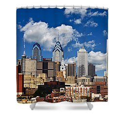 Philadelphia Blue Skies Shower Curtain by Bill Cannon