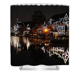 Philadelphia Boathouse Row At Night Shower Curtain