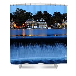 Philadelphia Boathouse Row At Twilight Shower Curtain by Gary Whitton