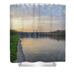 Shower Curtain featuring the photograph Philadelphia Cityscape From The Schuylkill In The Morning by Bill Cannon