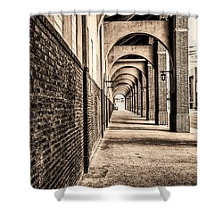 Shower Curtain featuring the photograph Philadelphia - Franklin Field Archway In Sepia by Bill Cannon