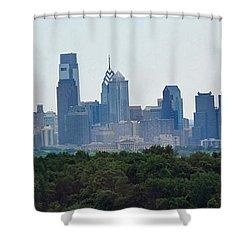 Philadelphia Green Skyline Shower Curtain