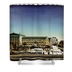 Philadelphia Museum Of Art And The Fairmount Waterworks From West River Drive Shower Curtain by Bill Cannon