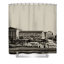 Philadelphia Museum Of Art And The Fairmount Waterworks From West River Drive In Black And White Shower Curtain by Bill Cannon