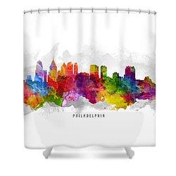 Philadelphia Pennsylvania Cityscape 13 Shower Curtain by Aged Pixel