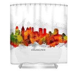 Philadelphia Pennsylvania Cityscape 15 Shower Curtain by Aged Pixel