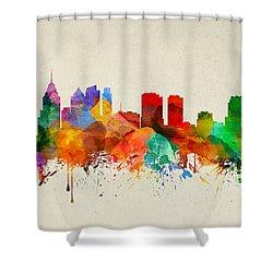 Philadelphia Pennsylvania Skyline 22 Shower Curtain by Aged Pixel