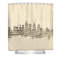 Philadelphia Pennsylvania Skyline Sheet Music Cityscape Shower Curtain