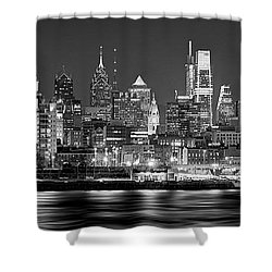 Philadelphia Philly Skyline At Night From East Black And White Bw Shower Curtain