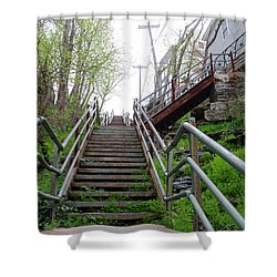 Shower Curtain featuring the photograph Philadelphia - Roxborough Avenue Steps by Bill Cannon