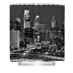 Philadelphia Skyline At Night Black And White Bw  Shower Curtain