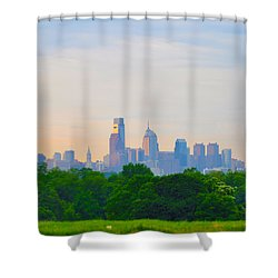 Philadelphia Skyline From West Lawn Of Fairmount Park Shower Curtain by Bill Cannon
