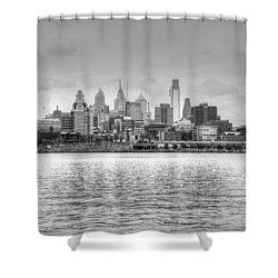 Philadelphia Skyline In Black And White Shower Curtain by Jennifer Ancker